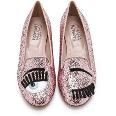 Chiara Ferragni Eyes Glitter Flats (1 685 SEK) ❤ liked on Polyvore featuring shoes, flats, flat heel shoes, rubber flats, chiara ferragni shoes, flat loafer shoes y flat pumps