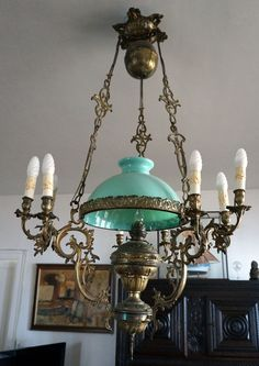 Hanging oil petroleum kerosene lamp shade gaudard a p morbier french victorian large hanging oil lamp chandelier 10 lights bronze brass 1860 ebay aloadofball Choice Image