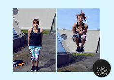 Highjumps - nichts für Anfänger. Aber man kann sie auch aus dem Stand machen. Abwechselnd die Beine so hoch wie möglich zur Schulter ziehen.