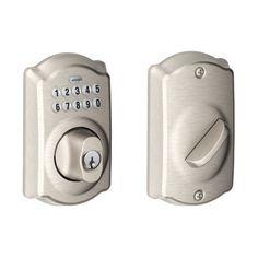 Schlage BE365VCAM619 Camelot Keypad Deadbolt, Satin Nickel by Schlage Lock Company, http://www.amazon.com/dp/B000NJJ1MQ/ref=cm_sw_r_pi_dp_ZB3Nrb0BRVY0F