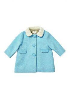 Baby London Nordic products - blue wool and sheepskin collar Caramel coat