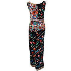 1960's Emilio Pucci Op-Art Print Velvet Sleeveless Blouse & Matching Pants Ensemble