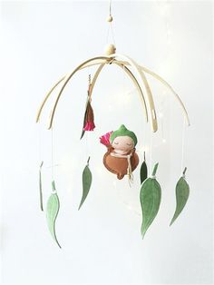 Handcrafted Gumnut Baby nursery mobile - a beautiful Australian nature-inspired newborn or baby shower gift