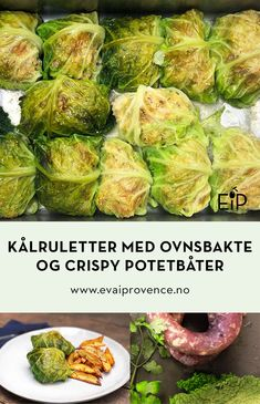 KNALLGODE KÅLRULETTER MED OVNSBAKTE OG CRISPY POTETBÅTER Bon Appetit, Quinoa, Sprouts, Cabbage, Food And Drink, Vegetables, Cooking, Red Peppers, Cabbages