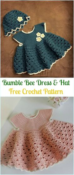 Crochet Girls Dress Free Patterns & Instructions Crochet Bumble Bee Dress & Hat Free Pattern- Girls Free Patterns The post Crochet Girls Dress Free Patterns & Instructions appeared first on Do It Yourself Diyjewel.Crochet Girls Dress Free Patterns & I Crochet Spring Dresses, Crochet Dress Girl, Crochet Baby Dress Pattern, Baby Girl Crochet, Baby Knitting Patterns, Crochet For Kids, Free Crochet, Crochet Patterns, Free Knitting