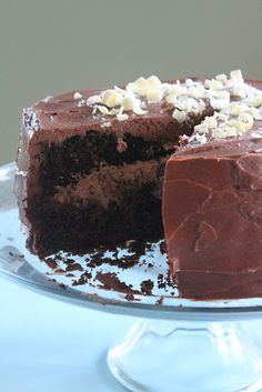 Chocolate Mousse Cake. The cake has coffee in it, so probably not for me, but the mousse and frosting look delicious! The is chocolate cream cheese. Mmmmmm!!