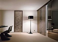 sliding glass doors in black color with floral pattern
