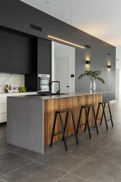 New Kitchen Island Bar Top Interior Design 52 Ideas Kitchen Interior, Concrete Kitchen, Kitchen Island Bench, Kitchen Bar, Kitchen Remodel, Kitchen Benches, Kitchen Island Bar, U Shaped Kitchen, Kitchen Design