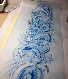 Cant wait to start this sleeve!and some autumn leafs 🌊🌊🌊 Weird Tattoos, Trendy Tattoos, Unique Tattoos, Leg Tattoos, Arm Tattoo, Body Art Tattoos, Tattoos For Guys, Tattoo Wave, Wave Tattoo Sleeve