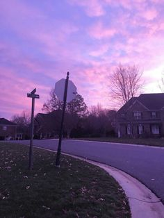 purple / city / street / sunset / pink / stop sign / empty