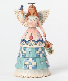 Look what I found on #zulily! Angel with Birdhouse Figurine #zulilyfinds