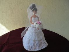 Barbie wedding dress crochet hand make white silver