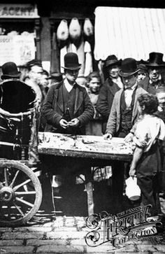 St Giles, Fish Stall 1885, London