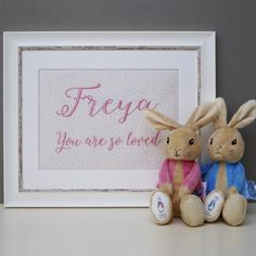 You Are So Loved Picture - Personalised Framed Picture - Embroidered Picture - Newborn Gift - Christening Picture - Personalized Picture Love Pictures, Print Pictures, Polka Dot Fabric, Beatrix Potter, Newborn Gifts, Beautiful Wall, Frames On Wall, Special Gifts, Machine Embroidery