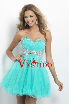 2015 Precioso Vestidos de Fiesta Una línea de novia corto / mini partida y…