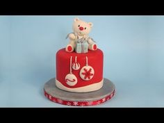 Teddy Bear Cake Topper Christmas Cake - YouTube