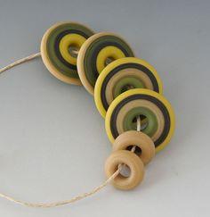 Southwest Artisan Set - (6) Handmade Lampwork Beads - Olive, Latte - Etched, Matte