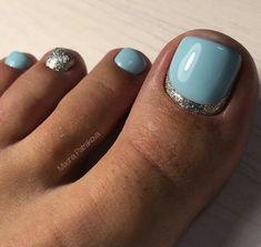 Blue Toe Nails, Gel Toe Nails, Simple Toe Nails, Pretty Toe Nails, Toe Nail Color, Summer Toe Nails, Striped Nails, Toe Nail Art, Green Nails