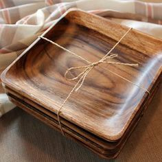 Acacia Wood Plates — Maxwell's Daily Find Wood Tray, Wood Bowls, Wooden Kitchen, Kitchen Decor, Wooden Plates, Plates And Bowls, Holiday Tables, Acacia Wood, Wood Design