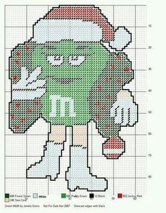GREEN M&M by JEWELS GEMS -- CHRISTMAS WALL HANGING