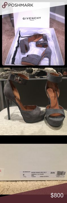 """Givenchy """"Shark Lock"""" Ankle Strap Sandals A gift from the hubby and never worn100% Authentic Givenchy Paris ankle strap sandals gray Sky high super sexy  NWT purchased from Barneys Givenchy Shoes Sandals"""