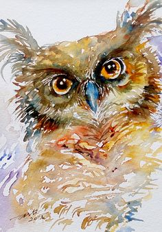 Tufted Ear Owl, Watercolor painting by Arti Chauhan | Artfinder
