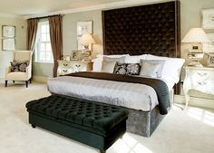 Alexander James Interiors - luxury headboard + french bedside tables