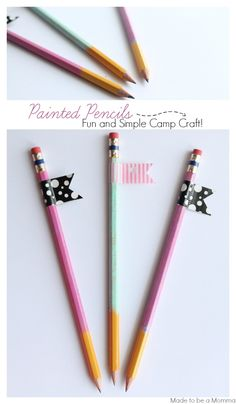 How fun are these Painted Pencils with Washi Tape Flags? Love them!