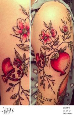 I want something similar tattooed on my hip and thigh area. Back Tattoos, Body Art Tattoos, Cool Tattoos, Snake And Flowers Tattoo, Flower Tattoos, Pomegranate Tattoo, Thigh Tattoo Designs, Witch Tattoo, Botanical Tattoo