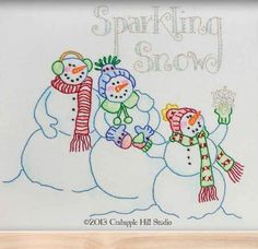 = free pattern = Sparkling Snow stitchery by Meg Hawkey at Crabapple Hill Studio for Lecien (PDF download)