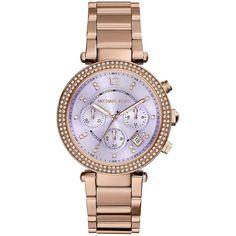 Michael Kors Parker Rose Golden Glitz Watch ($290) ❤ liked on Polyvore