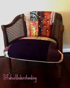 $545. Patchwork Upholstered Chair - Barrel Chair - Bohemian Chair - Purple Chair