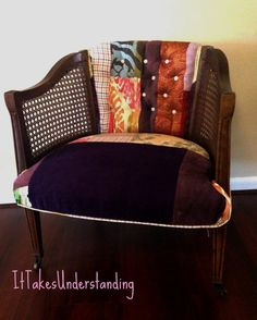 Patchwork Upholstered Chair  Barrel Chair  by ItTakesUnderstanding, $545.00