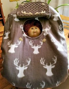 """Excited to share the latest addition to my #etsy shop: Car Seat Cover Gray Buck Baby With Gray Minky Lining Cozy Hand Made Infant Custom Embroidery """"My Little Dear"""" or """"Our Little Buck"""" & Antlers http://etsy.me/2E1kYIi #deerprint #bedroom #bedding #babyshower #gray"""