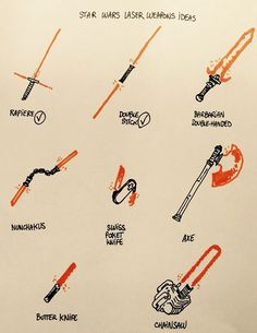 Star Wars Laser Weapons Ideas-- I know this is supposed to be silly, but the barbarian double handed and the axe would be cool :3