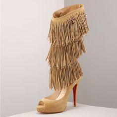 Peep Toe Fringe High Heels – High Class Fashion