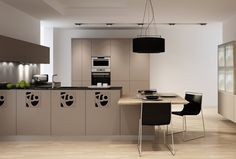Decorative panels create a modern look and open up the kitchen area. Kitchen Cabinet Doors, Kitchen Cabinets, Quality Kitchens, Decorative Panels, Modern Design, Living Room, Interior, Table, Furniture