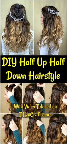 A simple half up half down hairstyle can go from drab to fab with this easy tutorial! A simple beaded floral accent and a little twist make this a great hairstyle for any occasion! Black Prom Hairstyles, Formal Hairstyles For Long Hair, Great Hairstyles, Elegant Hairstyles, Twist Hairstyles, Down Hairstyles, Straight Hairstyles, Long Hair Styles, Wedding Hairstyles