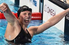 One of the best things about watching Katie Ledecky to me, besides just, like, the beauty of watching such an extraordinary athlete, is how she's so willing to let out these boisterous, macho expressions of joy compared to other women athletes. (also, some of these pics are from when she set a new 1500 world record so you have to also imagine just how fucking tired her arms must be while she's pounding them against the waters).