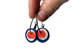 Red White Blue Mod Target Earrings Hoops in Bronze by BluKatDesign