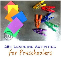 25+ learning activities for preschoolers that are easy to put together. Can be done at home or in the classroom or even placed in baggies for traveling! Teaching 2 and 3 Year Olds