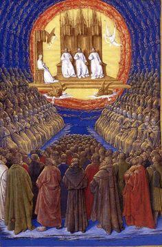 Jean Fouquet, La trinité dans sa gloire. En 1445, Peinture religieuse, Huile sur toile.