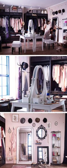 Forget the spare bedroom. If you're passionate about fashion you might want to think about using that room for something closer to your heart. Create a dressing room with an open wall storage system using rails, shelves and racks. Or simply take the doors off your wardrobes. That way you'll be able to see all your outfits at once. Complete it with a make-up station and a decorative mirror wall.