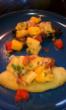 Awesome salsa recipe from my good friend Shannon! We put on a grilled Chicken and a Baked flounder.... Delicious!!