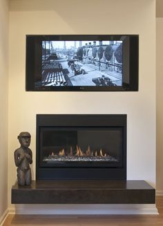 Modern Home Tv Above Fireplace Design, Pictures, Remodel, Decor and Ideas - page 5 Mounted Fireplace, Tv Above Fireplace, Gas Fireplace, Fireplace Ideas, Fireplace Modern, Electric Fireplace, Modern Minimalist Bedroom, Modern Bedroom, Master Bedroom