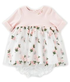 9a058f6ef Pippa & Julie Baby Girls Newborn-24 Months Rib Knit 3/4 Sleeve Floral  Embroidered Dress