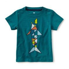 Tea SS16 Ceramic Shark Graphic Tee in scuba | He'll be swimming in compliments when he sports this awesomely aquatic tee. - $22.50