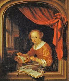 Gerrit Dou (Dutch Baroque Era Painter, 1613-1675) Lacemaker 1667