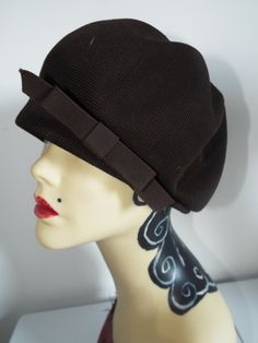 0d27f596c1e Vintage Hat 1950 s Brown Demi Cloche with side Bow By Kangol