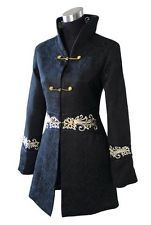 Negro chinos para mujer Cotton Bordar Largo Abrigo Chaqueta Talla S M L Xl 2xl 4xl